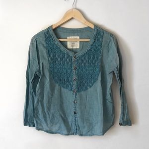 Free people blue button down shirt